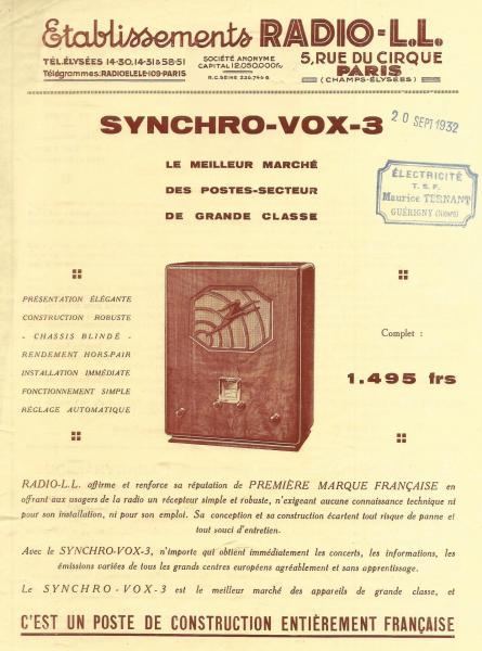Radio ll synchro vox 3 1932